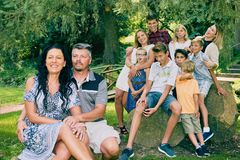 Portrait of happy mature couple with children Royalty Free Stock Image