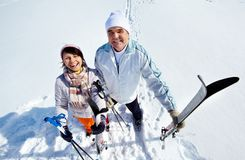 Mature skiers Stock Photos