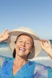 Portrait happy mature lady  sky Stock Image