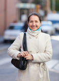 Portrait of  happy mature woman at city Royalty Free Stock Photo