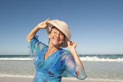 Portrait happy mature woman  sky Royalty Free Stock Photography