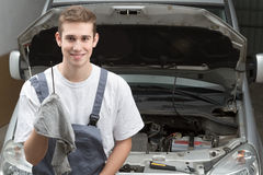 Portrait of happy mechanic Royalty Free Stock Images