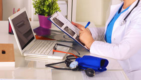Portrait of happy medical doctor woman in office.  Stock Photography