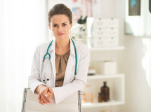 Portrait of happy medical doctor woman in office Royalty Free Stock Images