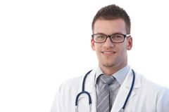Portrait of happy medical student. Portrait of happy young medical student smiling at camera Royalty Free Stock Image