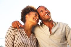 Happy man and woman standing together on date. Portrait of happy men and women standing together on date Stock Photo