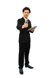 Portrait of happy middle aged businessman showing thumbs up sign Royalty Free Stock Images