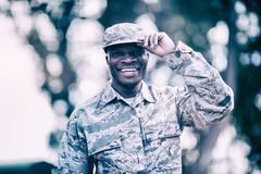 Portrait of happy military soldier stock image