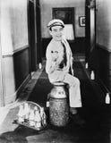 Portrait of happy milkman Stock Photography