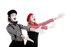 Portrait of happy mimes Stock Photo
