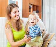 Portrait of happy mom and child Stock Photo