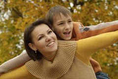 Portrait of a happy mom and her son royalty free stock images