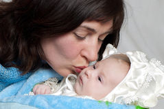Portrait of happy mother with baby Stock Photo