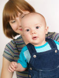 Portrait of happy mother with baby boy Royalty Free Stock Photography