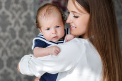 Portrait of happy mother and baby. Royalty Free Stock Photos