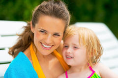 Portrait of happy mother and baby girl Royalty Free Stock Photos