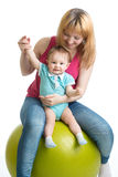 Portrait of happy mother and baby in gym Stock Photography