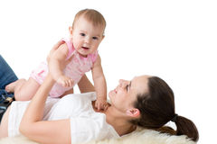 Portrait of happy mother and baby infant Stock Image