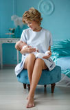 Portrait of happy mother and baby. Stock Photos