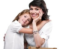 Portrait of a happy mother and daughter stock photos