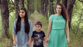 Portrait. Happy mother with her daughter and son walking around the park smiling holding hands on a summer sunny day stock video