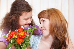 Portrait of happy mother and her little daughter Stock Image