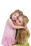 Portrait of happy mother and her little daughter embraced Stock Photography