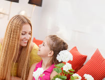 Portrait of happy mother and her little daughter Royalty Free Stock Image