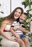 Portrait of a happy mother with her son Stock Photo