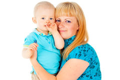 Portrait of happy mother holding child Stock Photos