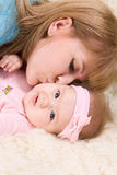 Portrait of happy mother with little baby girl Stock Photography