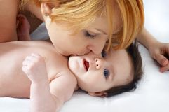 Portrait  happy mother and the little cute baby Royalty Free Stock Photo