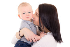 Portrait of happy mother and little son isolated on white Royalty Free Stock Photography