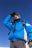 Portrait of a happy mountaineer looking away Royalty Free Stock Image
