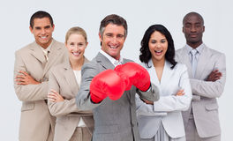 Portrait of happy multi- ethnic business team Royalty Free Stock Photography