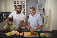 Portrait of happy multi-generation family preparing food in kitchen. Portrait of happy multi-generation family preparing food together in kitchen at home stock images