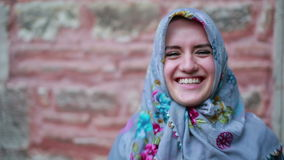 Portrait of happy muslim girl stock footage
