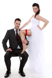 Portrait of happy newly married couple bride and groom Royalty Free Stock Photography