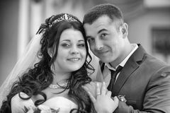 Portrait of a happy newlywed couple stock image