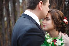 Portrait of happy newlyweds in autumn nature. Happy bride and groom embracing and kissing royalty free stock photography