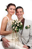 Portrait of happy newlyweds on white background Royalty Free Stock Photos