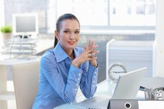 Portrait of happy office worker girl Stock Images