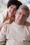 Portrait of happy old couple, outdoor. Portrait of happy old couple smiling, outdoor Stock Photography