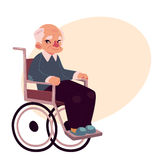 Portrait of happy old man sitting in wheelchair Stock Image