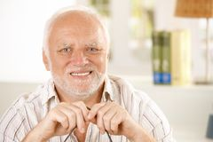 Portrait of happy old man. Smiling, looking at camera Stock Photography