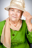 Portrait of happy old senior woman royalty free stock image