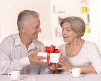 Portrait of a happy older couple stock photos