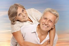 Portrait of happy older pair on a white background royalty free stock photos
