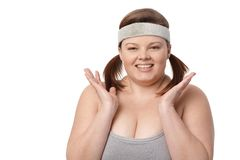 Portrait of happy overweight woman smiling Stock Photography