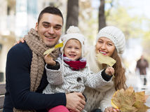 Portrait of happy parents with children in autumn Royalty Free Stock Image